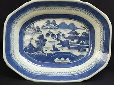 Chinese Export Canton Blue & White Platter Walled Garden Hand Painted Antique