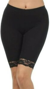 LADIES STRETCHY COTTON LYCRA ABOVE KNEE CYCLING SHORT CASUAL LEGGING WITH LACED