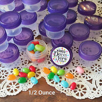12 Clear Jars Purple Caps Small Plastic Containers 1Tblsp 1/2 oz  #3803 DecoJars