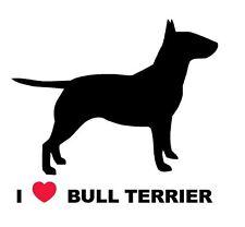 Pegatina Adhesivo Sticker I Love Bull Terrier  12 cms Sticker Aufkleber Autocoll