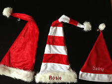 PERSONALISED LUXURY CHRISTMAS SANTA HATS - FREE EMBROIDERED NAME THIS WEEK ONLY