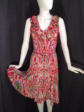 RALPH LAUREN Red Paisley Sleeveless Ruffle Neck Summer Sun Dress Fit Flare PM