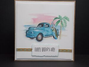 Handmade Happy Father's Day! - Beach / Surf Watercolour themed card