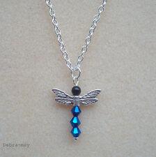 Pretty Metálico Azul Cristal Libélula Colgante Collar Cadena de Plata Plateado