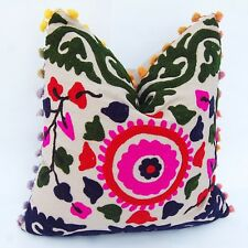 "16"" Embroidered Cushion Cover Cotton Handmade Decorative Pillow Cases Indian $"