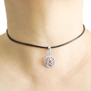 Pentagram Cute Charm Pendant Choker Necklace with Black Cord