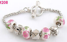 new handmade style porcelain metal charm beaded bracelet special clasp t208