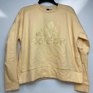 Adidas Glam-Logo Glow Light Orange Gold Womens Crew Neck Sweatshirt Pullover $60