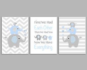 Baby Boy Nursery Prints / Blue & Grey / Chevron Stripes Elephant Stacks