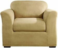 SURE FIT Stretch Leather Separate Seat Chair Slipcover - Camel  NEW