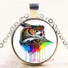 Colorful OWL Cabochon Silver/Bronze/Black/Gold Chain Pendant Necklace #7359