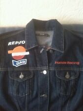 Blue JEANS GAS HONDA RACING MOTO Denim Biker Jean Jacket XL Taglia 18 da donna