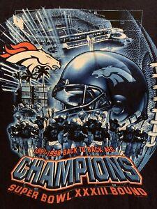 Denver Broncos Back To Back Super Bowl Bound XXXIII Nutmeg Men's Size Large