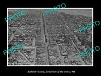 OLD POSTCARD SIZE PHOTO BALLARAT VICTORIA AERIAL VIEW OF THE TOWN c1940