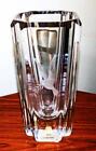 signed Skruf Engraved Swedish Crystal Vase Peace Dove with Laurel 1950's Vtg