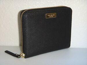 KATE SPADE Darci Laurel Way Zip Wallet Black Saffiano Leather Gold Logo WLRU2909