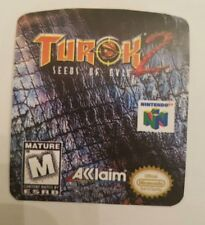 Turok 2 seeds of evil n64 cartridge replacement label sticker precut