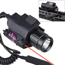 2in1 Tactical Led Flashlight Red Laser Sight Combo w/ Tail Switch For Pistol Gun