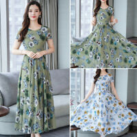 Women Floral Printed Evening Party Dress Short Sleeve Pleated Swing Maxi Dresses
