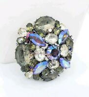 Vintage Austrian Glass Rhinestones Snowflake Brooch Pin