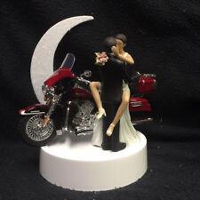 Hispanic, African American w/Harley Davidson Motorcycle Bike Wedding Cake topper
