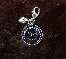 925 Sterling Silver Charm Wiccan Black Cat Familiar Moon Phases