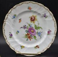 "Richard Klemm Dresden German Hand Painted Flowers & Gold 9 1/4"" Dinner Plate"