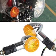 2X Bullet Motorcycle Turn Signal Light Indicators Blinker Amber Yellow Universal