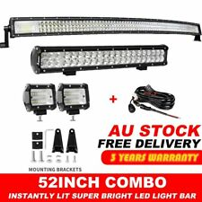 "Offroad 52"" 3000W Curved LED Light Bar+20"" Combo+2x 4inch Pods Driving Truck SUV"