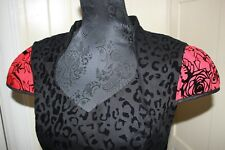 Rockabilly Retro HEARTS & ROSES dress s14 flocked fabric red black net p/coat
