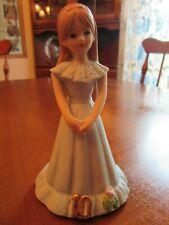 "Growing Up Birthday Girls Age 10~Brown Hair~Blue Dress ~ 5 1/8"" (1982) Enesco"