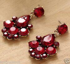Wholesale 1pair Woman's Red Crystal Rhinestone Long Ear Stud Hoop earrings 164