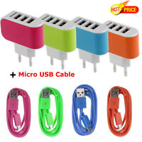 3.1A Triple USB Port Wall Home Travel AC Charger Adapter EU + Micro USB Cable