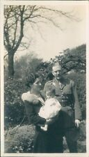 Photograph 1930's British Army Major With Wife And Daughter Country Garden