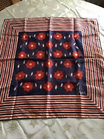 Vintage 1970's Vera Neumann Scarf Red White Blue Red & Blue Flowers Square