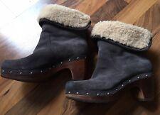 Original UGG-Lynnea-Clogs-Boots-Wild-Leder-Grau-Stiefeletten-Lammfell-Gr. 37