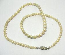 VINTAGE STERLING SILVER PEARL NECKLACE PRETTY CLASP 19 INCHES LONG