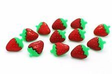 Strawberry Shank Buttons Red And Green Plastic DIY Doll Craft Large 21mm 100pcs