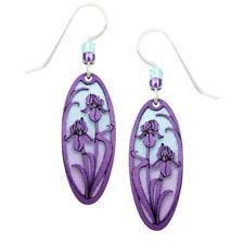 Adajio Violet Irises Overlay Blue & Purple Ombre Oval Pierced Earrings *Gift Box
