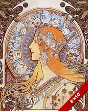 FRENCH MUCHA WOMAN W ASTROLOGY STARS SIGNS PAINTING ART REAL CANVAS GICLEEPRINT