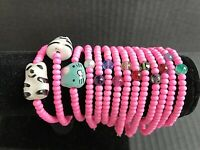 Hot Pink Glass Bead Stretch Bracelets SIZE SMALL Lot Of 14 Handmade NEW