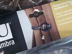 "UMBRA Drapery Scarf Holder Holdback Set ""DUELLA"" Espresso Hardware Included"