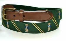 RALPH LAUREN Polo Bear Needlepoint BELT Leather Men's Size 34 Green