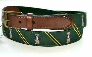 RALPH LAUREN Polo Bear Needlepoint BELT Leather Men's Size 36 Green