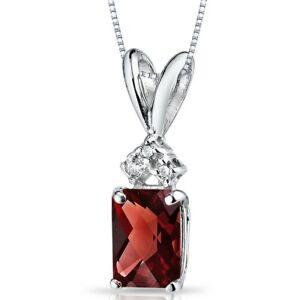 "1.00 ct Radiant Cut Garnet and Diamond Pendant in 14K White Gold, 18"""