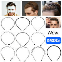 10PCS Metal Hair Headband Wave Style Hoop Band Comb Sport Hairband for Men Women