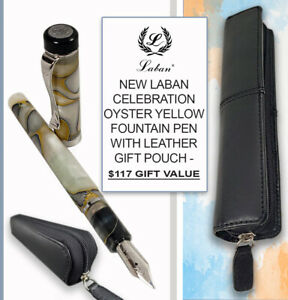 LABAN CELEBRATION F/PEN OYSTER YELLOW FOUNTAIN PEN & LEATHER POUCH - $117 VALUE