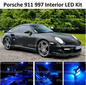 BLUE PREMIUM PORSCHE 997 911 10 PIECE INTERIOR UPGRADE LED LIGHT KIT