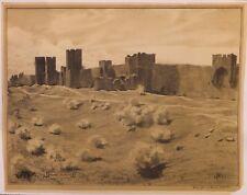Mur Est des remparts de Visby en Suède, lithographie de Louis SPARRE, 1911
