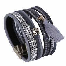 Wide Magnet Closure Wide Bracelet Rhinestone Crystal Slake Deluxe Grey Cuff